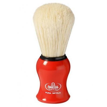 Pędzel do golenia Omega 10065RE, naturalna szczecina, czerwony