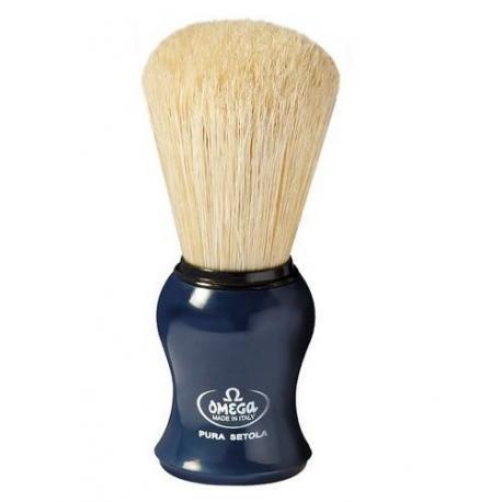 Pędzel do golenia Omega 10065DB, naturalna szczecina,  granatowy