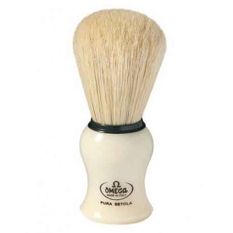 Pędzel do golenia Omega 10066, naturalna szczecina, kremowy