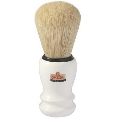 Pędzel do golenia Omega 10108 PROF, naturalna szczecina, biały