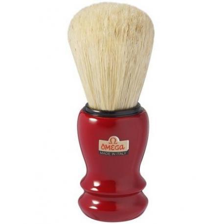 Pędzel do golenia Omega 10108 PROF, naturalna szczecina, bordowy