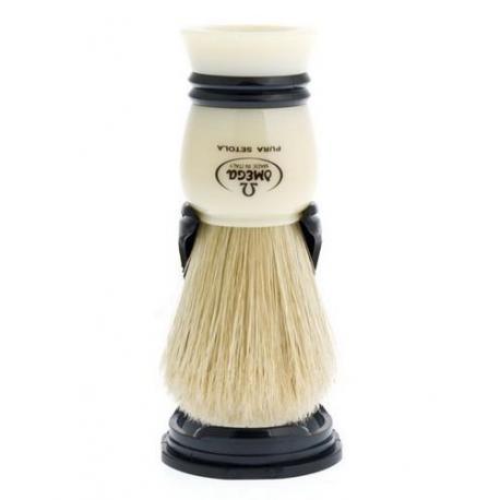 Pędzel do golenia Omega 80067, naturalna szczecina, kremowo-czarny