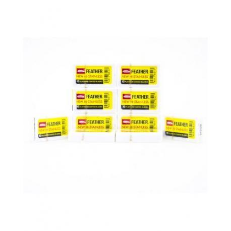 Żyletki FEATHER NEW Hi-Stainless (żółte) 100 sztuk