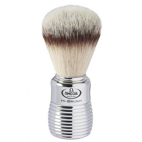 Pędzel do golenia Omega 0146113, syntetyk HI-BRUSH, srebrny