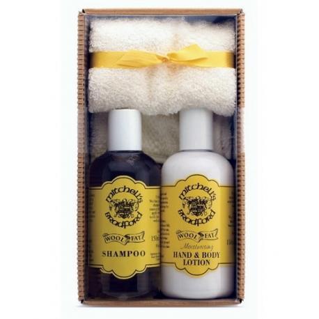 Mitchells Wool Fat zestaw prezentowy GPC7: balsam, szampon i mini ręcznik