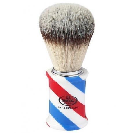 Pędzel do golenia Omega 0146735, syntetyk HI-BRUSH, Barber Pole