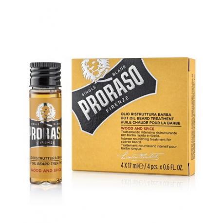 Proraso BEARD HOT OIL Wood & Spice olejek do brody i wąsów 4x17 ml