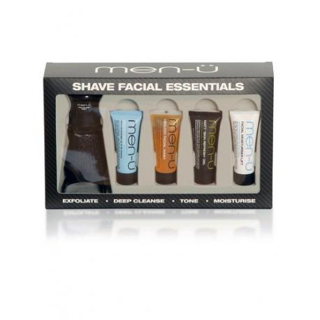 Pędzel do golenia men-u PRO BLACK, syntetyk, czarny + zestaw 4 kosmetyków 4x15ml