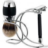 Zestaw do golenia Merkur CLASSIC 3 cz: maszynka na żyletki, pędzel borsuk i stojak