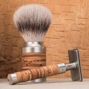 Pędzel do golenia Muhle ROCCA 31M95, syntetyk SilverTip Fibres, stal nierdzewna i kora brzozy