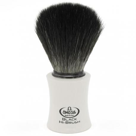 Pędzel do golenia Omega 0196819, syntetyk Black HI-BRUSH, biały