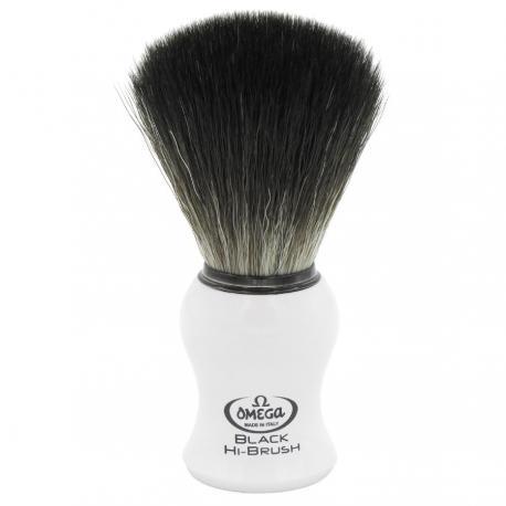 Pędzel do golenia Omega 0196745, syntetyk Black HI-BRUSH, biały