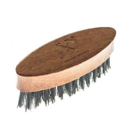 Stylowy Brodacz - mini szczotka (kartacz) militarny do brody, włosie dzika