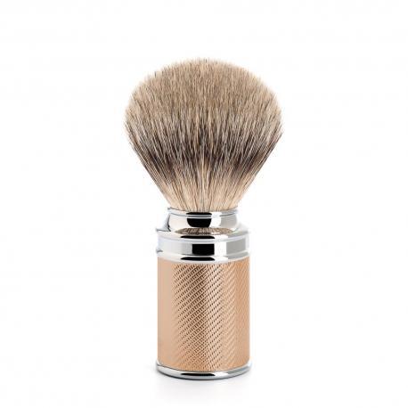 Pędzel do golenia Muhle DE 091M89RG, borsuk SILVERTIP, metal złocony