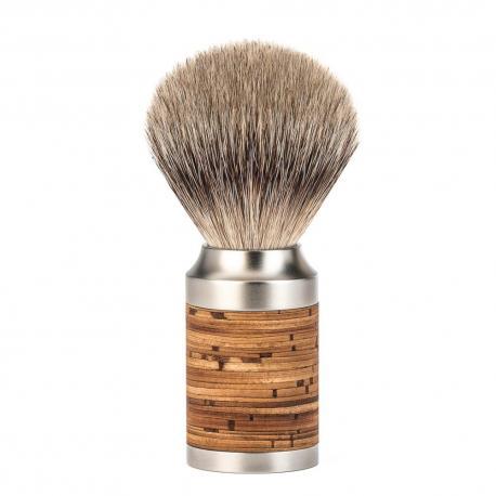 Pędzel do golenia Muhle ROCCA 091M95, borsuk SILVERTIP, stal nierdzewna i kora brzozy