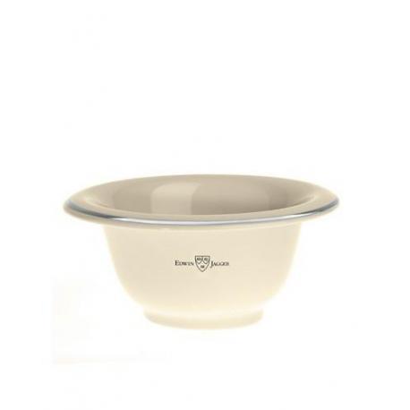 Edwin Jagger RN117 Miseczka do golenia, kremowa porcelana ze srebrną obwódką