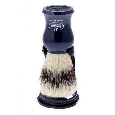Pędzel do golenia Omega 80265DB, naturalna szczecina, uchwyt granatowy